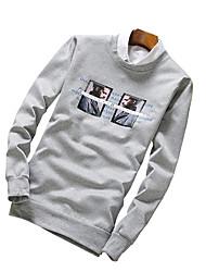 Sweatshirt Pour des hommes A Motifs / Lettre Décontracté / Sport Polyester Manches longues Noir / Bleu / Gris