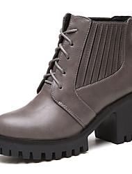 Damen-High Heels-Lässig-PU-Blockabsatz-Komfort-Schwarz / Grau