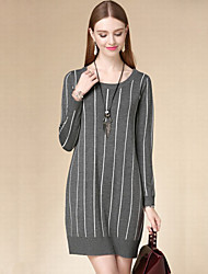 DOF Women's Casual/Daily Simple Sweater DressStriped Round Neck Above Knee Long Sleeve Gray Cotton Fall High