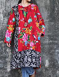 Feminino Camisa Casual Chinoiserie Inverno,Floral / Patchwork Vermelho Algodão / Linho Decote Redondo Manga Longa Média