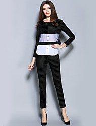 Women's Work Street chic Fall Pant Suits,Striped Round Neck Long Sleeve Black Polyester