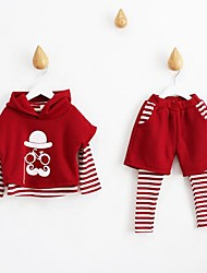 Girl's Casual/Daily Print Clothing SetCotton Spring / Fall Multi-color / Red