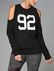 Tee-shirt Femme,Lettre Décontracté / Quotidien simple Eté / Automne Manches Longues Col Arrondi Noir Polyester Fin