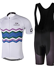 QKI Cycling wear Wave Cycling Jersey with Bib Shorts 5D Pro Gel Padde Unisex Short SleeveBreathable