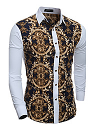 Men's Casual/Daily Simple Spring Fall Shirt,Patchwork Classic Collar Long Sleeves Cotton Thin