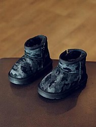 Girl's Boots Comfort Cowhide Casual Black Khaki Dark Green