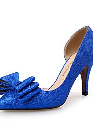 Women's Heels  Novelty Microfibre / Glitter Wedding / Party & Evening / Dress Stiletto Heel BowknotBlue / Silver /