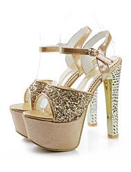 Women's Sandals Summer Platform Ankle Strap PU Office & Career Dress Party & Evening Stiletto Heel Platform Sparkling Glitter BuckleGold