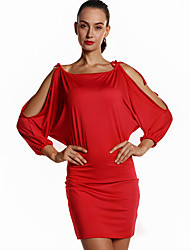 Women's Party/Cocktail Sexy / Simple Bodycon DressSolid Boat Neck Above Knee Long Sleeve Rayon Summer / Fall High Rise