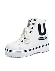 Women's Boots Spring Fall Winter Comfort Leatherette Outdoor Casual Platform Lace-up Black White Fitness & Cross Training Walking