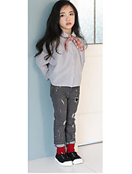 Girl's Casual/Daily Solid JeansCotton Fall Gray