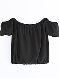 Femme Epaules Dénudées Tee-shirt Aux s,Couleur Pleine Décontracté/Quotidien Sexy Eté Manches Courtes Bateau Bleu Polyester Opaque