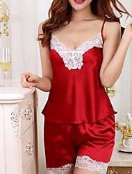 Feminino Super Sensual Roupa de Noite,Sensual Cor Única-Médio Seda Rosa Roxo Azul Vermelho