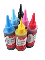 заполнение чернил принтера (6 цвет черный 100мл комплектации красный 100мл желтый 100мл синий 100 мл светло-голубой 100 мл светло-красный