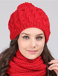 Women Winter Casual Outdoor Solid Color wool warm Hairball Twist knitting hedging cap