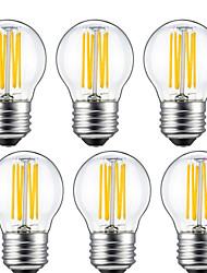 6W E26/E27 Ampoules à Filament LED G45 6 COB 560 lm Blanc Chaud Décorative AC 100-240 V 6 pièces