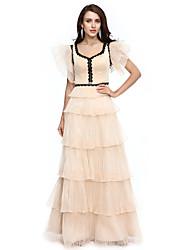 Ts costura baile / vestido de noche formal - celebridad estilo vaina / columna v-cuello piso-longitud organza con apliques borla (s) pliegues