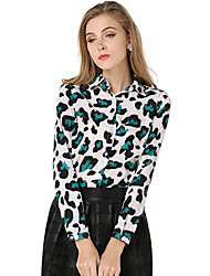 Women's Casual/Daily Simple Spring / Fall Shirt,Animal Print Standing Collar Long Sleeve Green Polyester Medium
