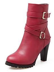 Femme-Habillé-Noir Gris Rouge-Gros TalonBottes-Similicuir