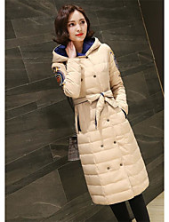 Women's Long Padded Coat,Simple Going out Solid-Cotton Without Filling Material Long Sleeve Hooded White / Beige / Black