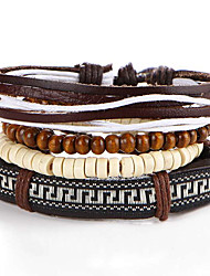 2016 5pcs/set New Fashion Vintage Bracelets Bangles Jewelry Leather Bracelet Beads Weave for Men
