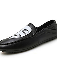 Masculino-Mocassins e Slip-Ons-Conforto-Rasteiro-Preto / Branco / Preto e Branco-Couro Ecológico-Casual