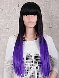 Fashion Style Long Straight Hair Black and Purple Color Synthetic Wigs for Women
