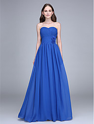 Lanting Bride® Floor-length Chiffon Bridesmaid Dress - Sheath / Column Strapless with Flower(s) / Criss Cross