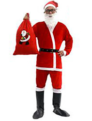 Christmas Costume/Holiday Halloween Costumes Red Solid Top / Pants / Belt / Hats / Boots Christmas Male Pleuche
