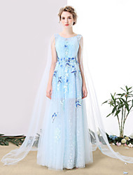 Formal Evening Dress - See Through Sheath / Column Scoop Floor-length Tulle with Embroidery Lace