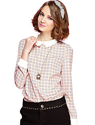 Women's Casual/Daily Cute Spring / Fall Blouse,Print Shirt Collar Long Sleeve Pink Polyester Medium