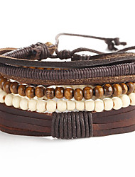 2016 5pcs/set New Fashion Bracelets Bangles Jewelry Leather Bracelet Beads Weave for Men Christmas Gifts
