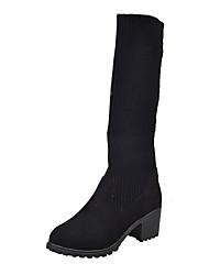 Women's Boots Winter Comfort Cashmere Casual Chunky Heel Split Joint Black Walking
