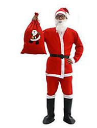 Fest/Feiertage Halloween Kostüme Rot einfarbig Top / Hosen / Gürtel / Schuhe / Mützen Weihnachten Mann Plüsch