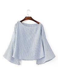 Women's Going out Boho Fall Shirt,Solid Shirt Collar Long Sleeve White Cotton / Polyester Medium