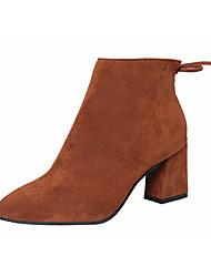 Черный Коричневый Серый Бордовый-Женский-Для праздника Повседневный-Полиуретан-На толстом каблуке-Удобная обувь-Ботинки