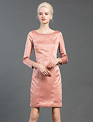GATHER BEAUTY Women's Going out Vintage Sheath DressSolid Round Neck Above Knee Long Sleeve Blue / Pink Polyester / Spandex Fall Mid Rise Inelastic