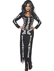 Costumes de Cosplay / Costume de Soirée Squelette/Crâne Fête / Célébration Déguisement Halloween Blanc / Noir Imprimé Robe Halloween