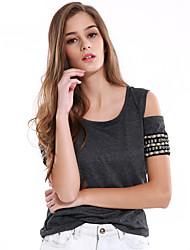 Damen Solide Einfach Ausgehen / Lässig/Alltäglich T-shirt,Rundhalsausschnitt Sommer / Herbst Kurzarm Grau Polyester / Andere Mittel
