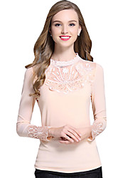 Spring Fall Go out Casual Plus Size Women's Tops Solid Color Fashion Wild Lace Splicing Stand Collar Long Sleeve Blouse