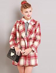 linjou Women's Going out Vintage CoatPlaid Notch Lapel Long Sleeve Winter Red Wool / Acrylic Medium