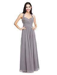 2017 Lanting Bride® Floor-length Chiffon Elegant Bridesmaid Dress - A-line Halter with Side Draping