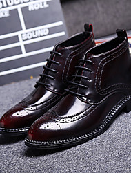 Men's Boots Comfort Cowhide Casual Comfort Black Burgundy Flat
