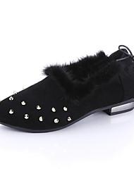 Women's Heels Winter Comfort Microfibre Office Casual Low Heel Beading / Lace-up Black / Green / Gray Walking