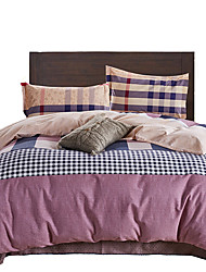 Plaid Duvet Cover Sets 4 Piece Cotton Contemporary Quilted Cotton Queen / King 1pc Duvet Cover / 2pcs Shams / 1pc Flat Sheet