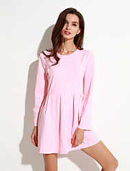 Women's Going out Simple A Line Dress,Solid Round Neck Mini Long Sleeve Pink / Red Polyester Spring