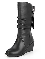 Women's Boots Winter Platform PU Office & Career Dress Casual Wedge Heel Platform Zipper Black Walking