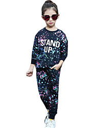 Girl's Sports Print Clothing SetCotton Spring / Fall Blue / Pink