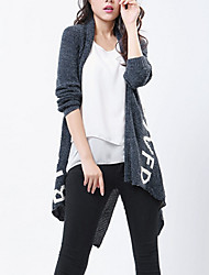 Hot Sale /Women's Casual/Daily / Holiday Sexy / Street chic Long CardiganSolid Blue / Gray Peter Pan Collar Long Sleeve Cotton Fall / Winter Medium