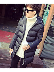 Men's Padded Coat,Simple Casual/Daily Solid-Cotton Cotton Long Sleeve Hooded
